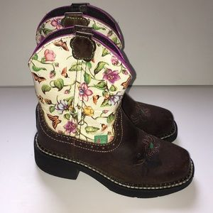 Little Girls Justin Floral Boots 10.5